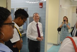 Governor visits John Gray High School Emergency Shelter