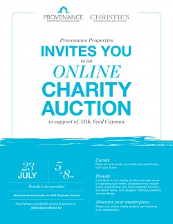 Provenance Properties to host online charity auction to benefit ARK's Feed Cayman