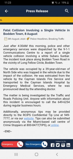 Fatal Collision Involving a Single Vehicle in Bodden Town