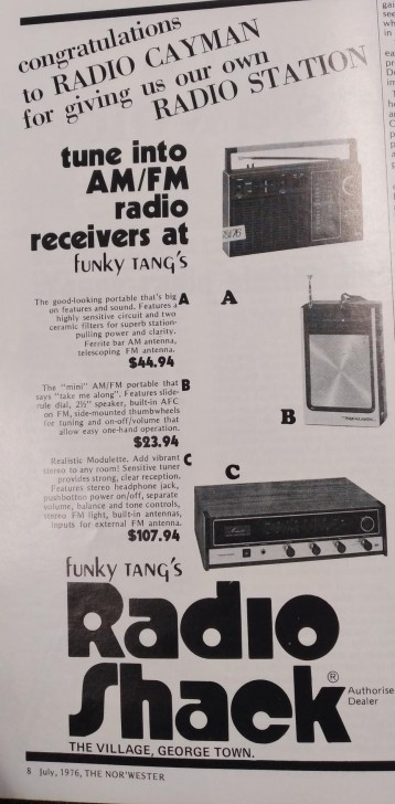 Congratulatory Ad from Funky Tang's Radio Shack in July 1976